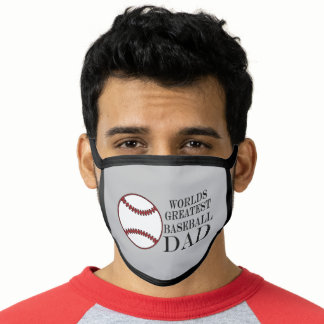 Red White Ball Sports Worlds Greatest Baseball Dad Face Mask