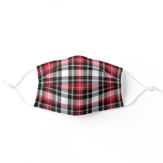 Red White Black Plaid Adult Cloth Face Mask