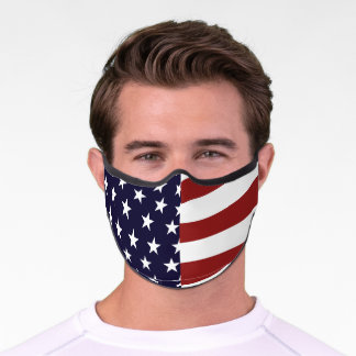 Red White Blue American Flag Inspired Safety Premium Face Mask