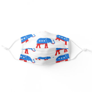 Red White Blue Republican Elephant Patriotic Adult Cloth Face Mask
