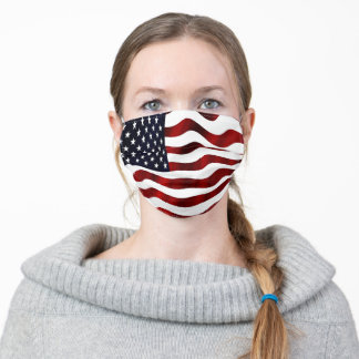 Red, White, Blue Wavy USA American Flag Adult Cloth Face Mask