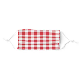 Red White Buffalo Plaid Gingham Adult Cloth Face Mask