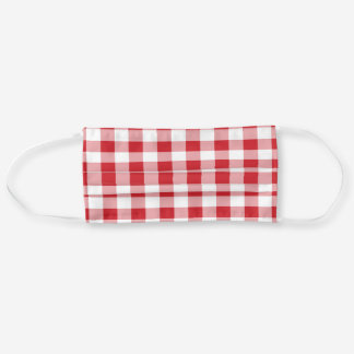 Red White Buffalo Plaid Gingham Cloth Face Mask