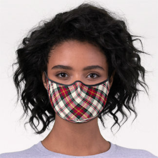 Red & White Plaid Premium Face Mask