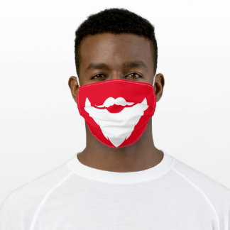 Red white santa beard graphic adult cloth face mask