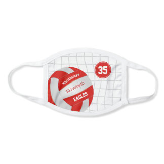 red white school team colors girls volleyball face mask