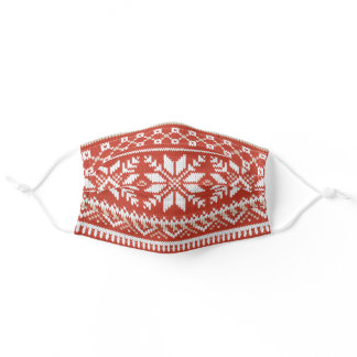 Red, White & Tan Fair Isle Faux Knit Sweater Adult Cloth Face Mask