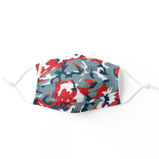 Red White Two Blue Camo Adult Cloth Face Mask