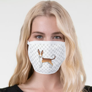 Red & White Wire Haired Ibizan Hound Cartoon Dog Face Mask