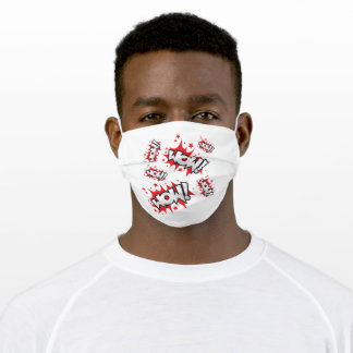 Red White WOW! Quote Adult Cloth Face Mask