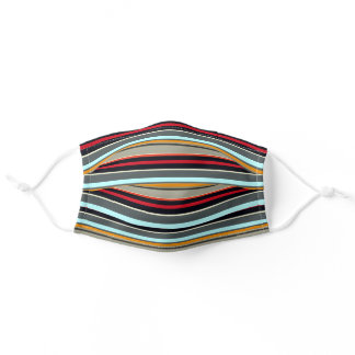 Red Yellow Blue Silver Multicolored Stripes Adult Cloth Face Mask