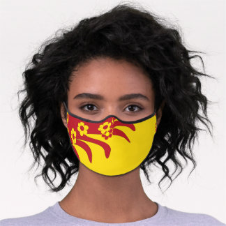 Red Yellow Hawaiian Floral Tropical Summer  Premium Face Mask