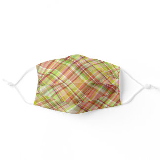 Red Yellow Lime Green White Tartan Plaid Pattern Adult Cloth Face Mask