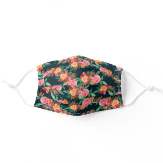 Red yellow orange floral navy watercolor pattern adult cloth face mask