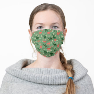 Reindeer & Candy Canes Pattern Adult Cloth Face Mask