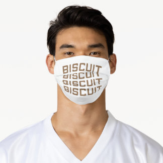 repeated biscuit text art adult cloth face mask