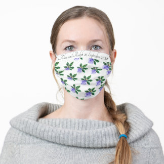 Repeating Orchid Green Black Blue Customizable Adult Cloth Face Mask