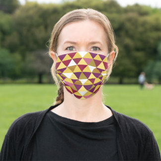 Retro 1960 Purple Gold Triangles Reusable Washable Adult Cloth Face Mask