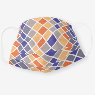Retro 1960s Squares Rectangles Pattern Reusable Cloth Face Mask