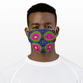 Retro 60s 70s Pattern Fuchsia Green Blue Adult Cloth Face Mask