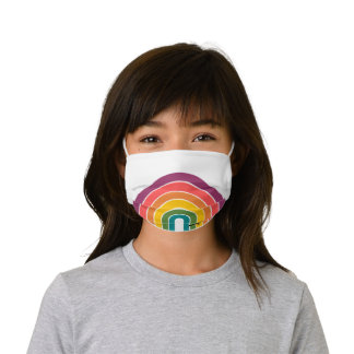 Retro 80s Rainbow White Personalized Kids' Cloth Face Mask