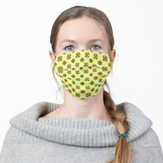 Retro Avocado Green and Rust Orange Pattern Adult Cloth Face Mask