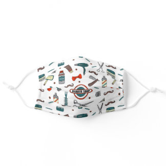 Retro Barber Shop Elements Hand Drawn Pattern Adult Cloth Face Mask