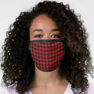Retro Black Red Houndstooth Weaving Pattern Face Mask