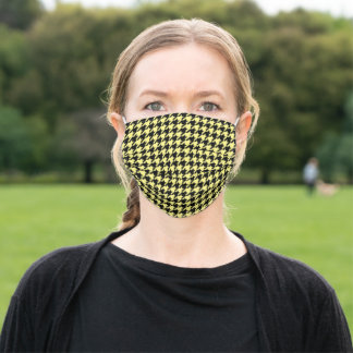 Retro Black Yellow Houndstooth Weaving Pattern Adult Cloth Face Mask