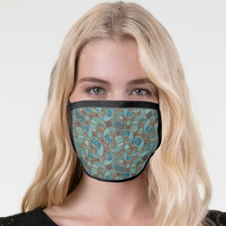 Retro Brown and Blue Paisley Pattern Face Mask