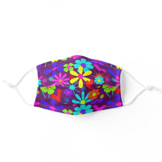 Retro Flower Power Colorful Patterned Adult Cloth Face Mask