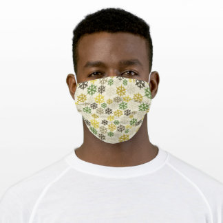 Retro Gold Yellow Green Gray Snowflakes Washable Adult Cloth Face Mask