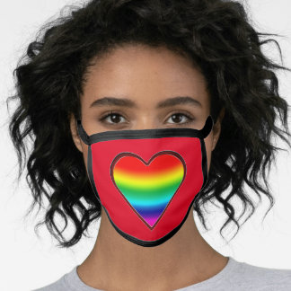 Retro Heart With A Rainbow Within Face Mask