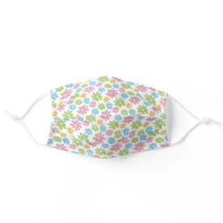 Retro Light Green Pink Blue Yellow Floral Art Adult Cloth Face Mask