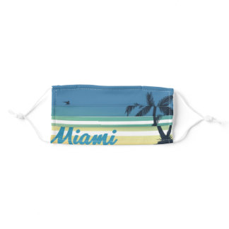 Retro Miami Beach Palm Tree party Sunset Souvenir Adult Cloth Face Mask