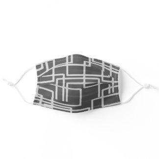 Retro Modern Blanched Slate Squares On Storm Grey Adult Cloth Face Mask