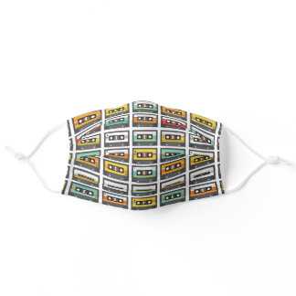Retro Music Cassette Tapes Pattern Adult Cloth Face Mask