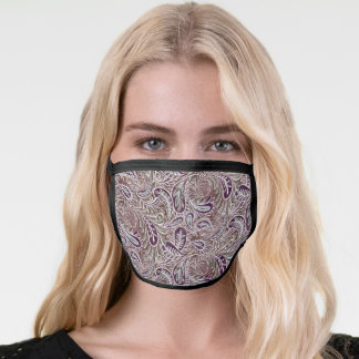 Retro Paisley Plum Purple White Pattern Face Mask
