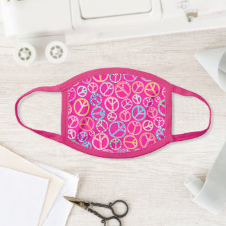 Retro Peace Sign Groovy Pink Pattern Face Mask