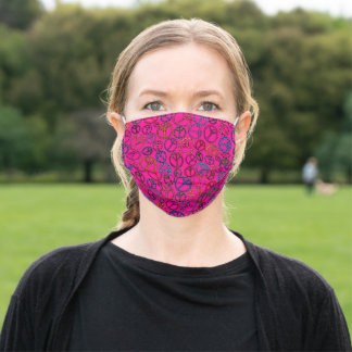 Retro Peace Sign Groovy Shocking Pink Pattern Adult Cloth Face Mask
