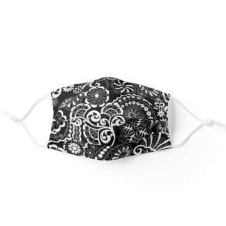 Retro Psychedelic Floral Black & White Adult Cloth Face Mask