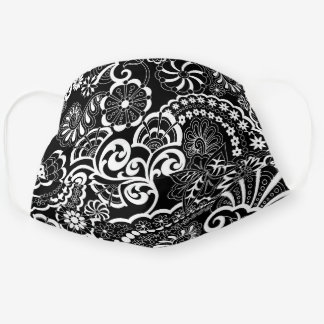 Retro Psychedelic Floral Black & White Cloth Face Mask