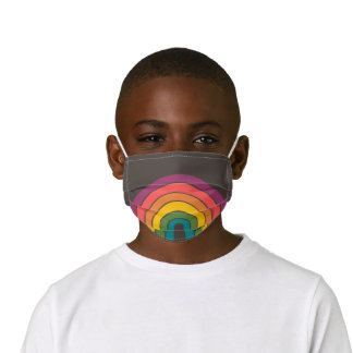 Retro Rainbow Eighties Gray Personalized Kids' Cloth Face Mask