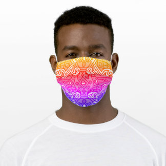 Retro Rainbow Orange Pink Purple Tribal Pattern Adult Cloth Face Mask