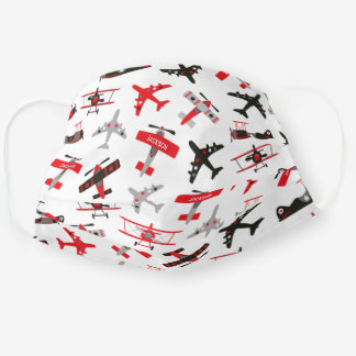 Retro Red and Black WWII Military Airplane Pattern Adult Cloth Face Mask