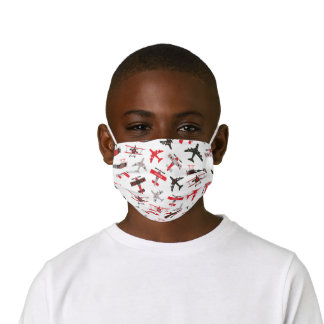 Retro Red and Black WWII Military Airplane Pattern Kids' Cloth Face Mask