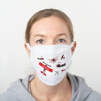 Retro Red and Black WWII Military Airplane Pattern White Cotton Face Mask