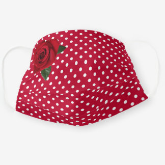 Retro - Red Polka Dots w Rose Cloth Face Mask