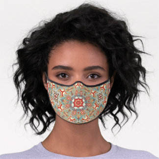 Retro Red Turquoise Teal Blue Floral Mandala Art Premium Face Mask