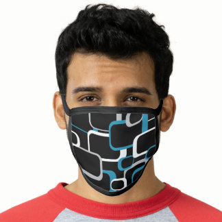 Retro Squares Pattern Blue White Gray Black Face Mask